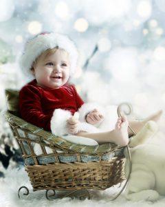foto de criança no trenó